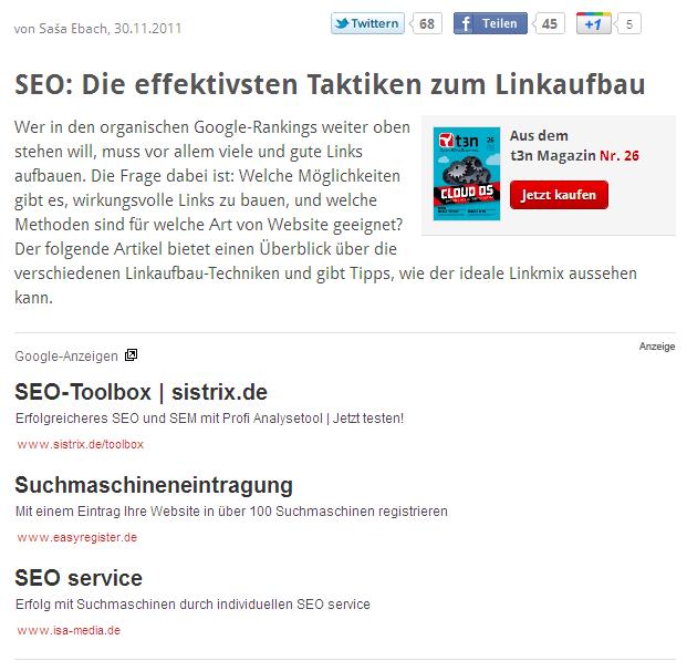 IMHO: Warum Googles Datensammeln gar nicht so böse ist - SEO Tipps T3N - Adsense