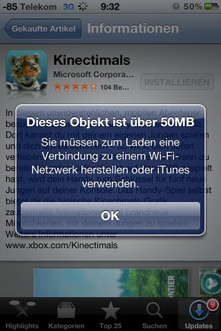 Die Warnung kommt jetzt nur noch bei Apps, die größer als 50 MByte sind.