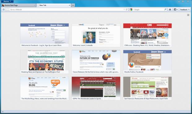 Neues Tab in Firefox 13 Aurora mit Vorschaubildern auf die zuletzt und am häufigsten besuchten Websites