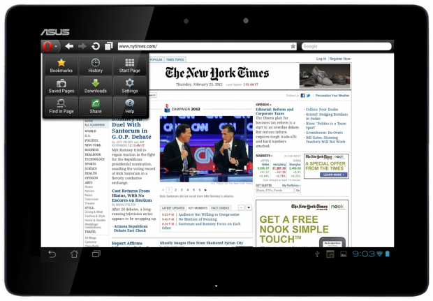 Opera Mini 7 auf einem Android-Tablet