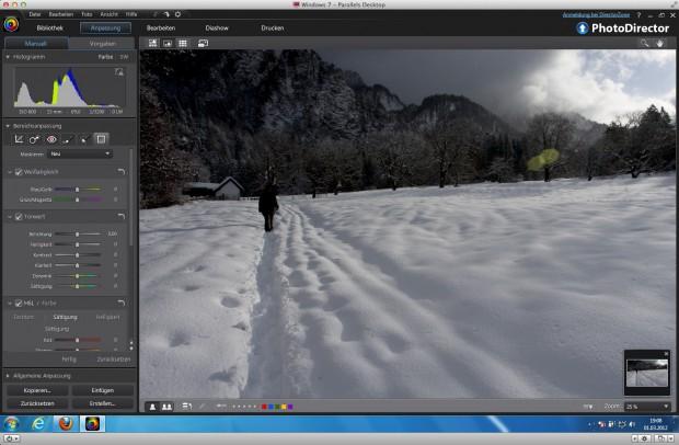 Cyberlink Photodirector 3 - der Himmel und die Berge sind im Vergleich zum Schnee zu dunkel. (Bild: Andreas Donath)