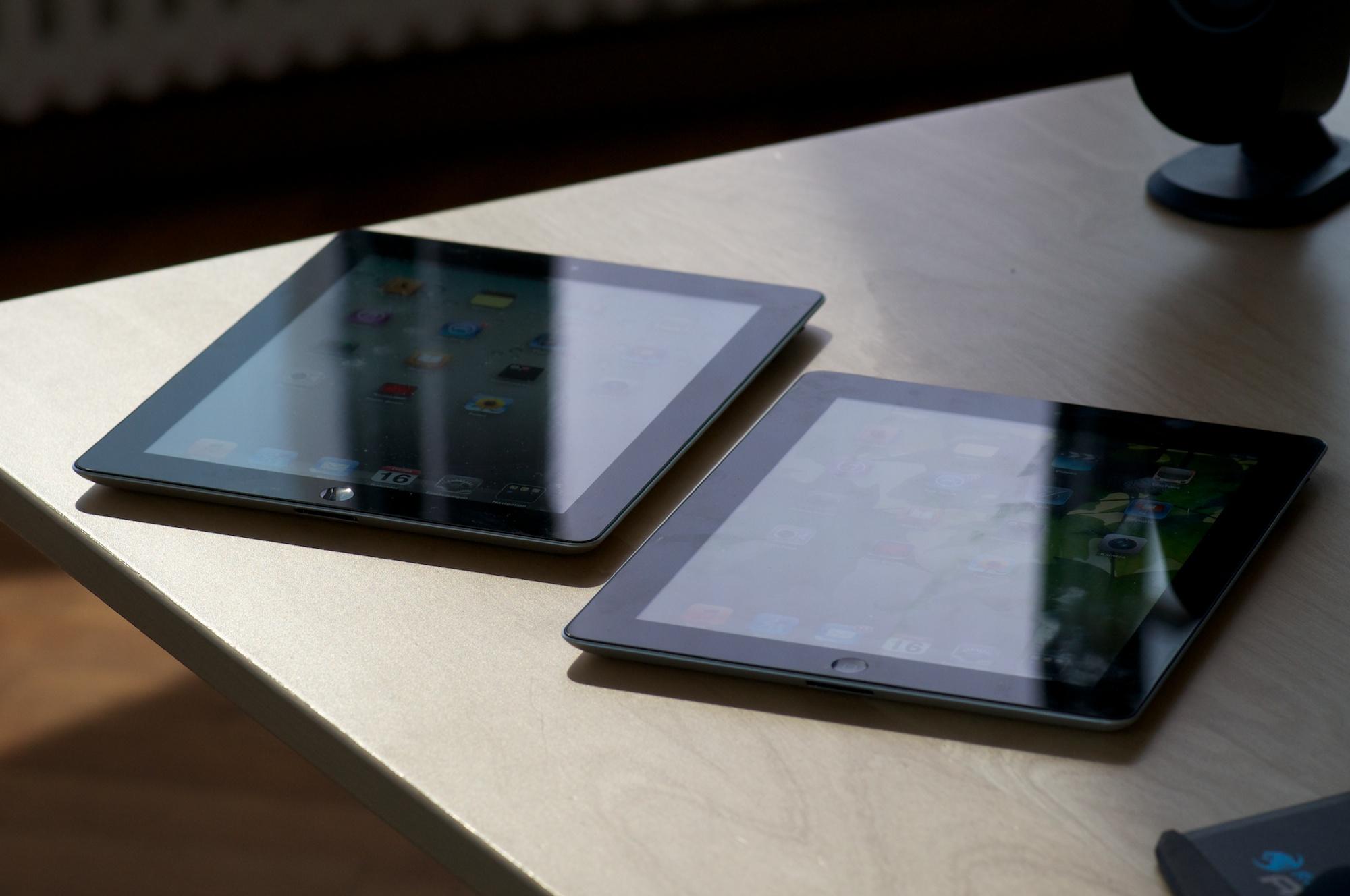 iPad 3 im Test: Gut für Einsteiger, nichts für iPad-2-Besitzer - Die Unterschiede sind von vorne nicht auszumachen. Links ist das iPad 3.