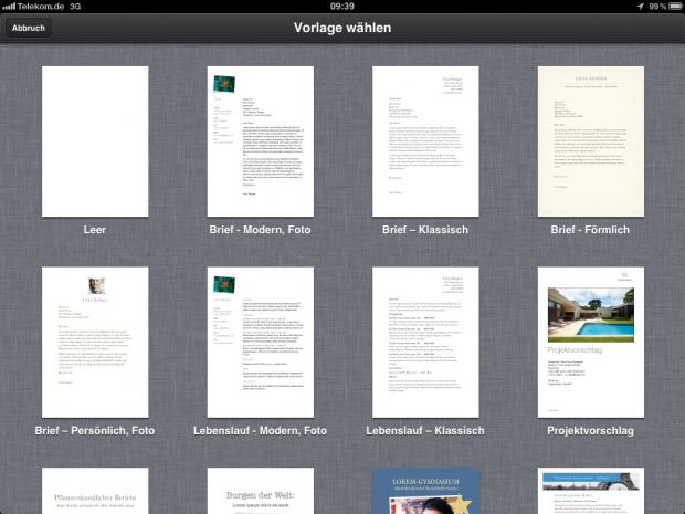 Pages auf dem iPad 2...