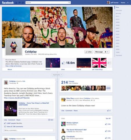 Beispiel Coldplay - die neuen Facebook-Seiten haben nun auch den Timeline-Look von privaten Profilen. (Bild: Facebook/Coldplay)