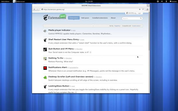 Noch gibt es nur sehr wenige Erweiterungen für Gnome 3.4