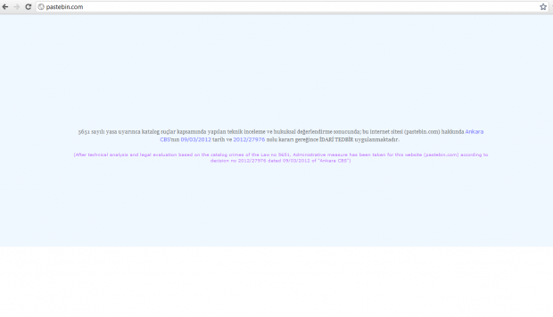 In der Türkei ist die Webseite von Pastebin gesperrt worden. (Bild: Anonnews)