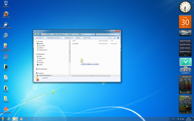 Zunächst richtet Safesync unter Windows einen eigenen Ordner zur Synchronisierung ein.