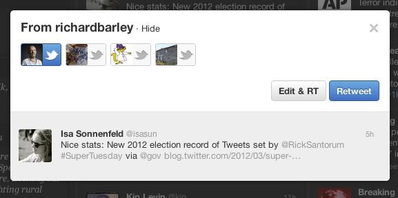 Twitter-Client: Tweetdeck 1.3 mit viel Neuem und weniger Fehlern - Tweetdeck 1.3 - Statt Quote gibt es nun den Button Edit & RT (Bild: Twitter)