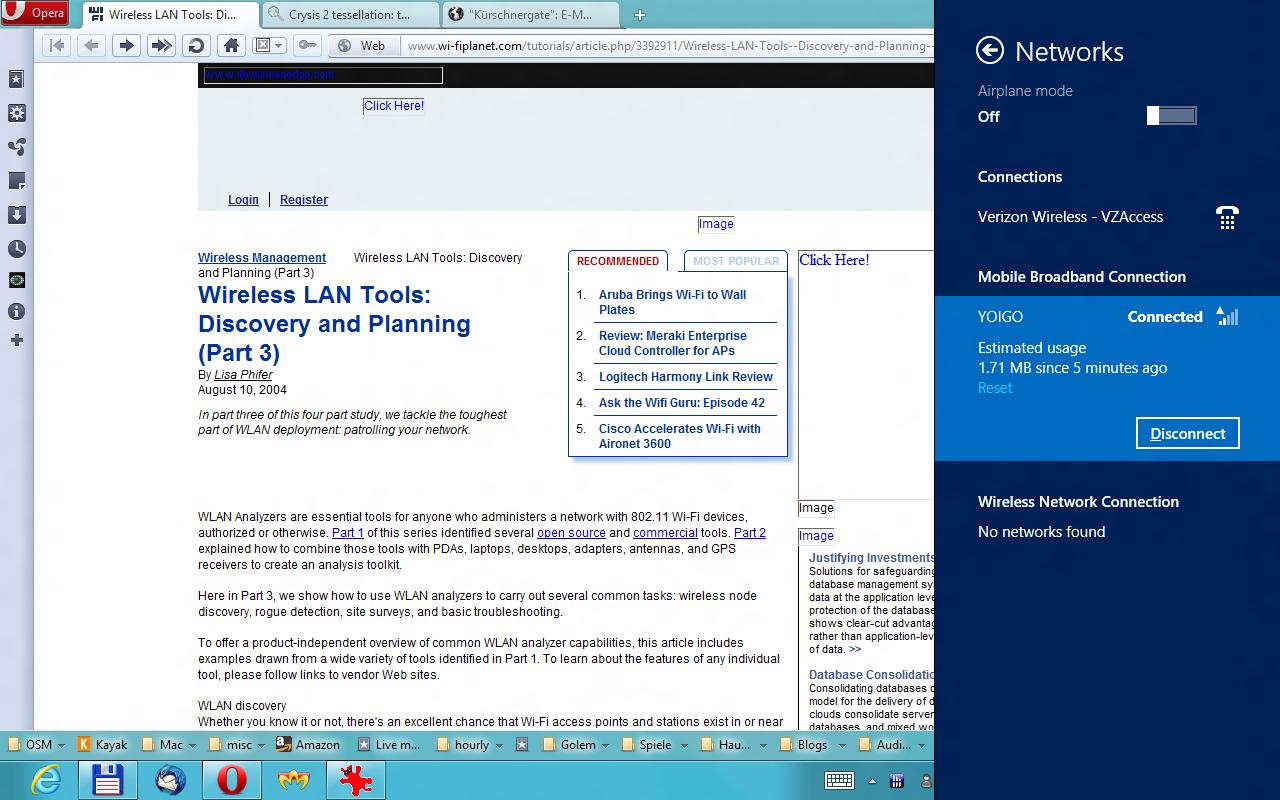 Windows 8 CP in der Praxis: Stabile Vorschau mit zwei Bedienungskonzepten durch Metro - Beim Roaming praktisch: eine Anzeige des genutzten Datenvolumens