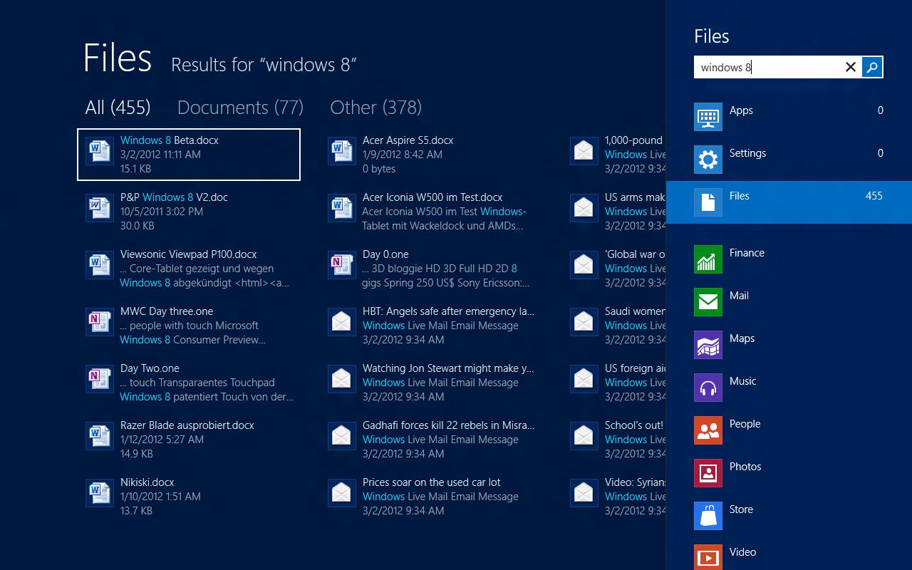 Windows 8 CP in der Praxis: Stabile Vorschau mit zwei Bedienungskonzepten durch Metro - Die Suche zeigt E-Mails an, die wir gar nicht bekommen haben. Gewisse Inhalte sind Teil der Standardinstallation.