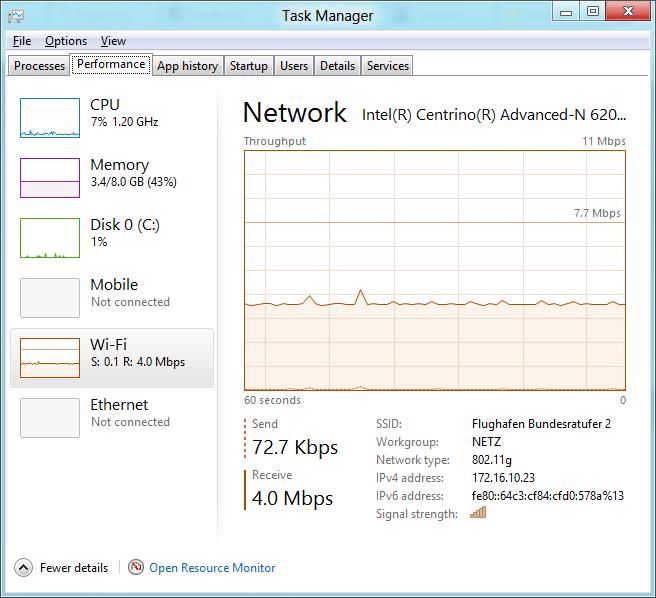 Windows 8 CP in der Praxis: Stabile Vorschau mit zwei Bedienungskonzepten durch Metro - Der neue Taskmanager ist schick.