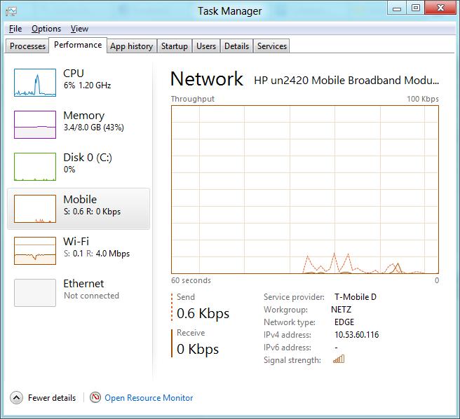 Windows 8 CP in der Praxis: Stabile Vorschau mit zwei Bedienungskonzepten durch Metro - Detaillierte Netzanzeige