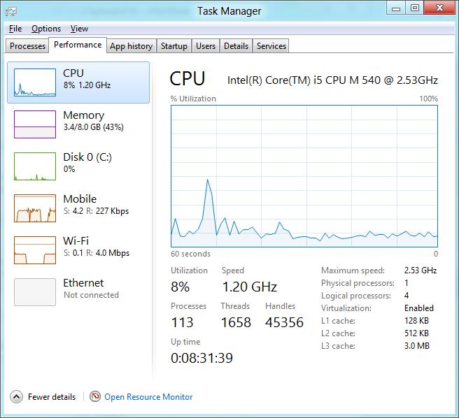 Windows 8 CP in der Praxis: Stabile Vorschau mit zwei Bedienungskonzepten durch Metro - Hier wird sogar der heruntergetaktete Prozessor angezeigt.