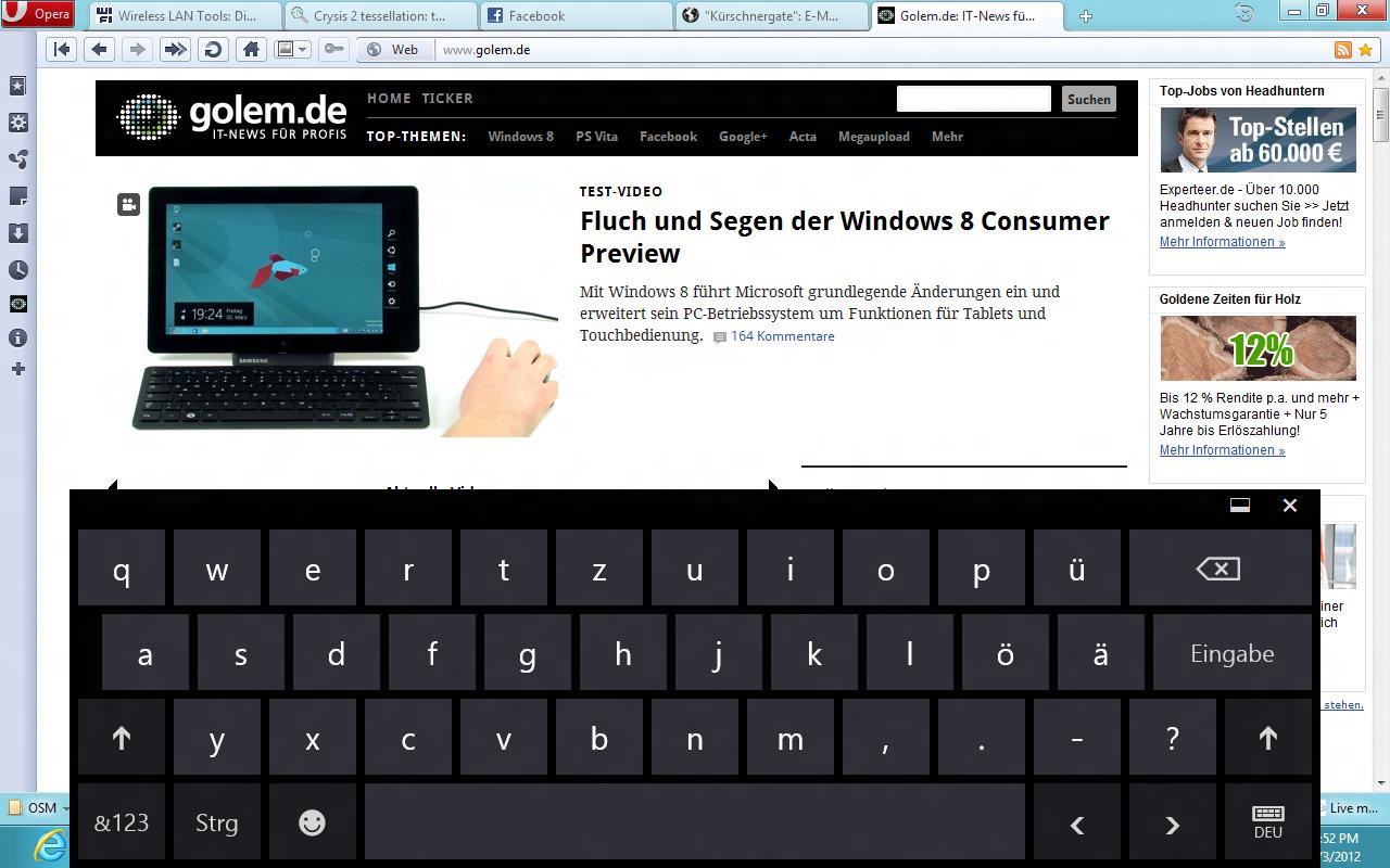 Windows 8 CP in der Praxis: Stabile Vorschau mit zwei Bedienungskonzepten durch Metro - Virtuelle Tastatur mit Umlauten
