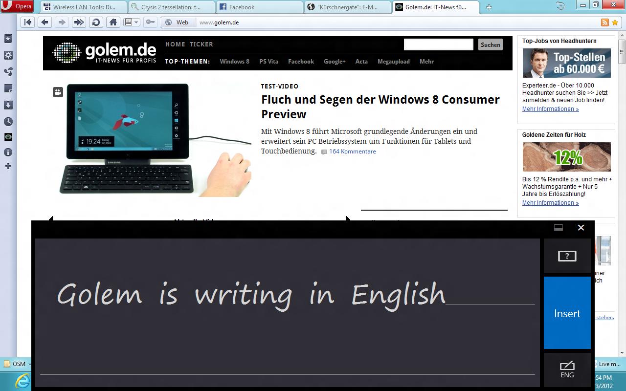 Windows 8 CP in der Praxis: Stabile Vorschau mit zwei Bedienungskonzepten durch Metro - Handschrifterkennung nur in Englisch. Die deutsche Tastatur kann das mangels Sprachpaket nicht.
