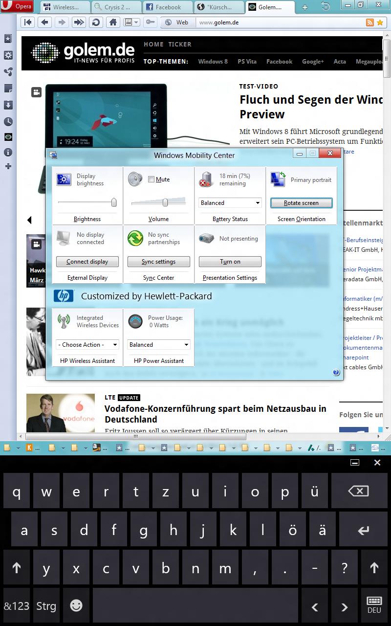Windows 8 CP in der Praxis: Stabile Vorschau mit zwei Bedienungskonzepten durch Metro - Laut Mobility Center haben wir kein WLAN. Einer der wenigen Fehler aufgrund des Betastatus.