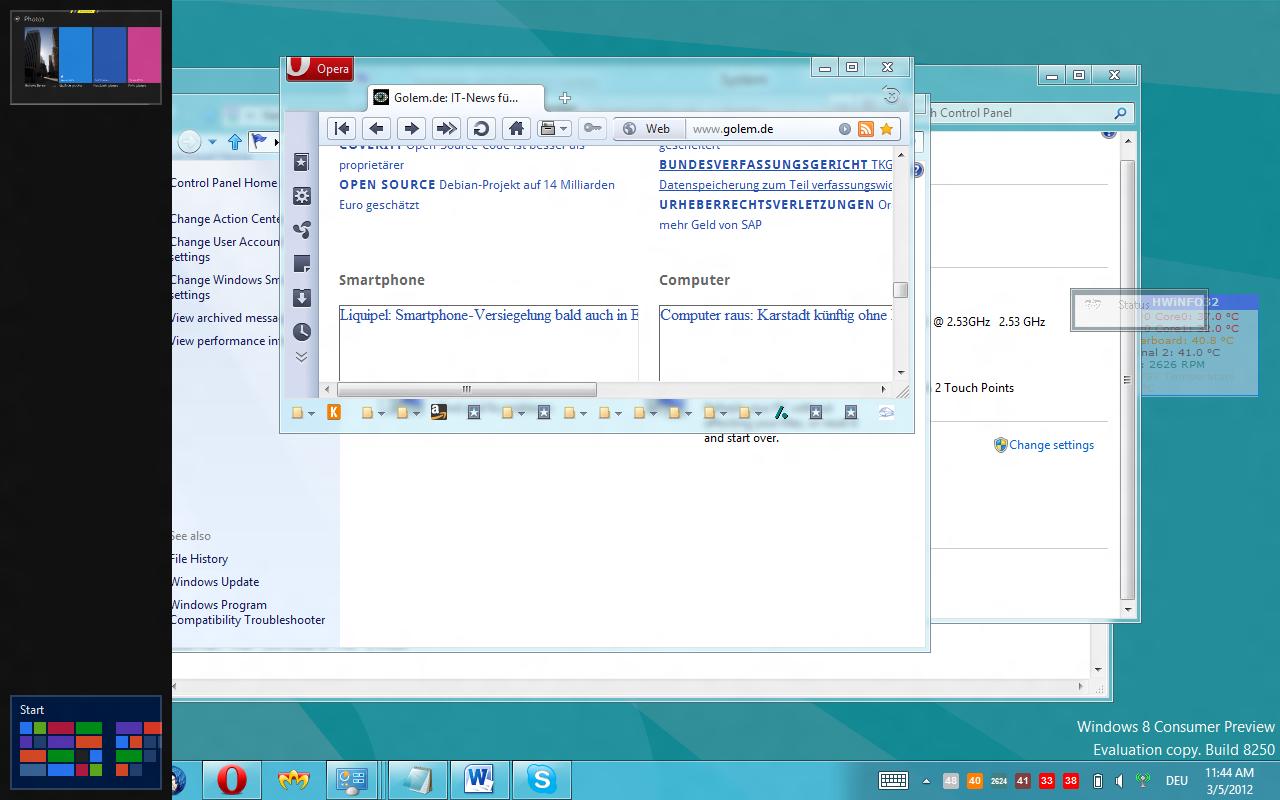Windows 8 CP in der Praxis: Stabile Vorschau mit zwei Bedienungskonzepten durch Metro - Windows-Tab oder Rein- und Rauswischen von der Seite