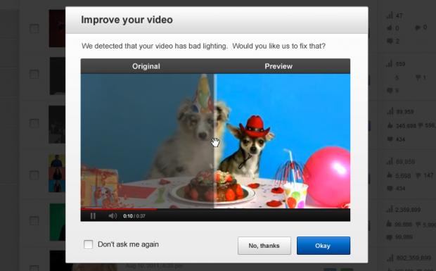 Youtube schlägt fortan eine Entwacklung und/oder Aufhellung hochgeladener Videos vor. (Bild: Youtube)