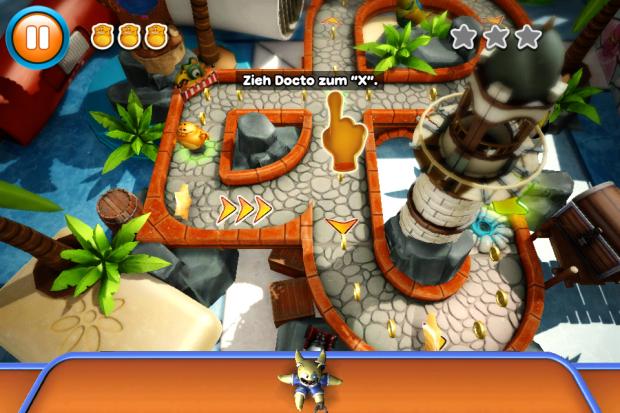 Per Drag-and-Drop kann der Spieler einen Kumpel von Fibble auf der Strecke platzieren.