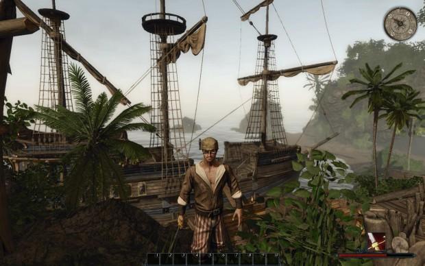 Im Hafen des Piratennests vor Stahlbarts Schiff.