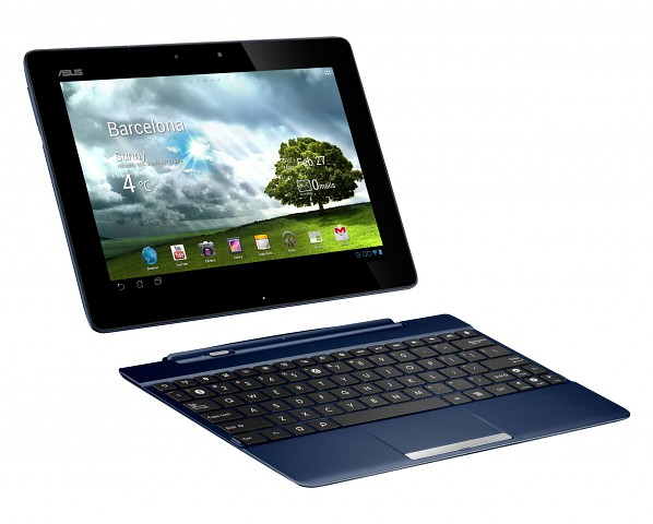 Transformer Pad TF300T/TF300TG/TF300TL - blaue Variante mit optionaler Docking-Tastatur (Bild: Asus)
