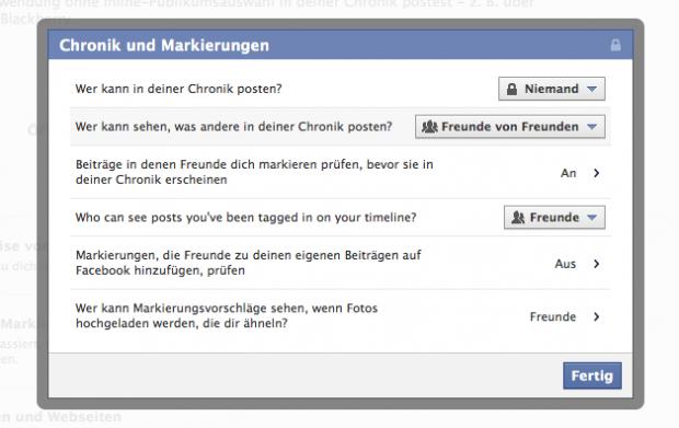In den Privatsphäre-Einstellungen von Facebook lässt sich einstellen, dass man nur selbst neue Einträge auf der Pinnwand veröffentlichen kann (Bild: Screenshot Golem.de)