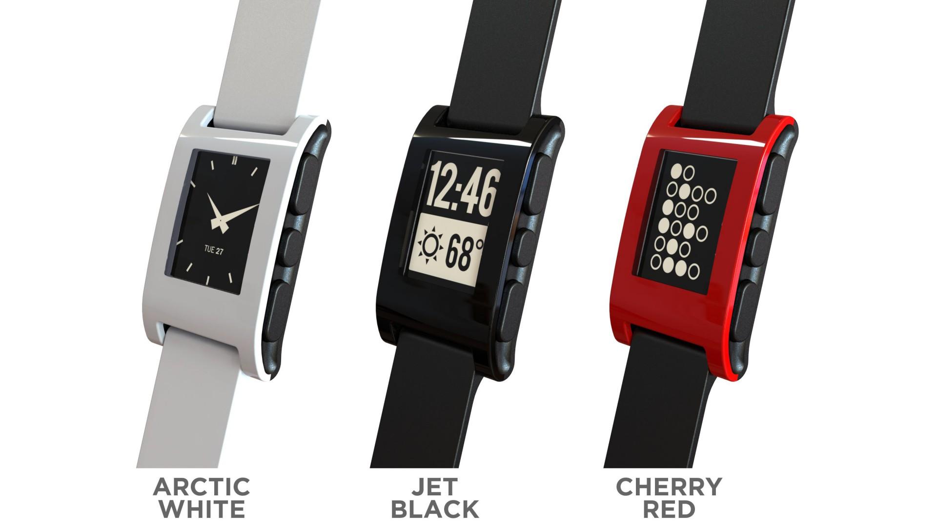 Pebble Smartwatch: E-Paper-Armbanduhr schlägt alle Rekorde auf Kickstarter - Pebble Smartwatch - noch einmal die drei bekannten Farben (Bild: Pebble)