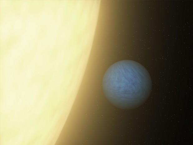 55 Cancri e und sein Zentralstern. Er ist einer von fünf Planeten und dem Stern 55 Cancri am nächsten. (Bild: Nasa/JPL-Caltech)