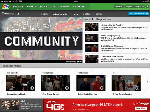Community in der NBC-App fürs iPad