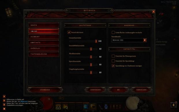 Soundmenü Diablo 3