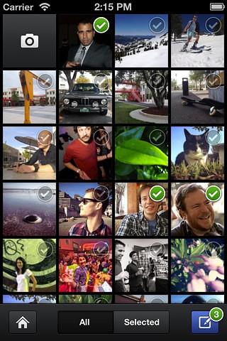Uploadauswahl in Facebooks Camera App (Bild: Facebook)