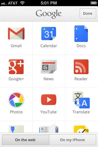 Einfacher Zugang zu Googles Anwendungen in Search 2.0 für iOS (Bild: Google)