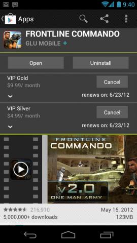 Übersicht über die verfügbaren Abomodelle innerhalb der Anwendungsbeschreibung im Play-Store-Client