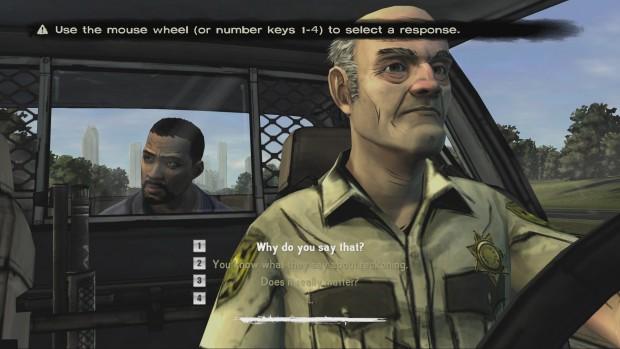 In Gesprächen haben Spieler immer vier unterschiedliche Antwortmöglichkeiten.