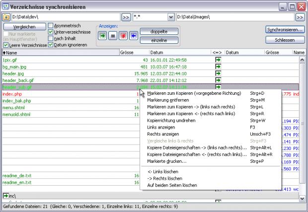 Total Commander 8.0 - Verzeichnisse synchronisieren