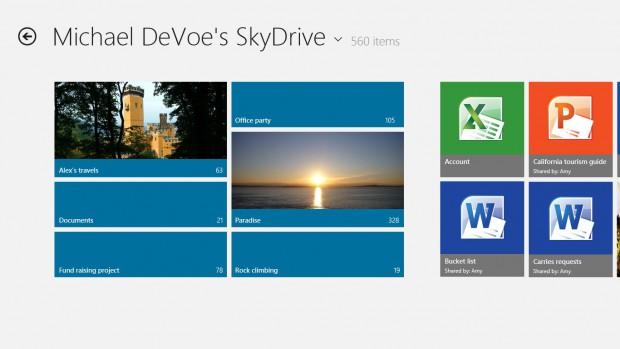 Windows 8 Release Preview - der integrierte Cloud-Speicherdienst Skydrive (Bild: Microsoft)