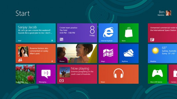 Startscreen von Windows 8