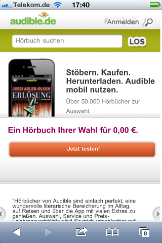 Audibles mobile Shop-Webseite (Bild: Audible)