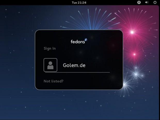 Der Login-Bildschirm von Fedora 17