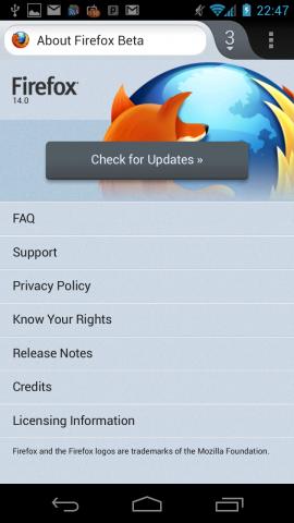 Firefox 14 für Android Beta