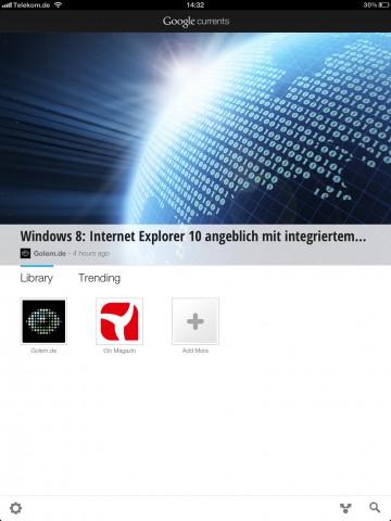 Die Inhalte von Golem.de gibt es nun auch als Google-Currents-Edition (Bild: Golem.de)