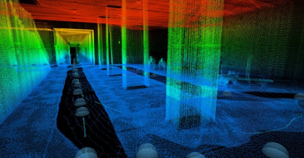 Die Räume werden mit einem Laser abgetastet und fotografiert. (Bild: Georg Schroth/TUM)