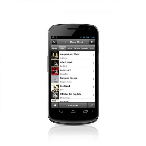 Mit der Raumfeld-App kann nun auch auf dem Android-Gerät gespeicherte Musik zum Raumfeld One/Smart Speaker for Android gestreamt werden. (Bild: Teufel)