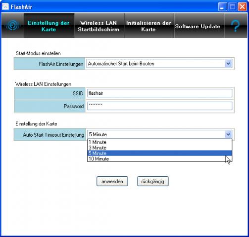 Die Flashair-Karte wird über ein Zusatzprogramm oder über eine Konfigurationsdatei eingerichtet. (Screenshot: Petra Vogt)