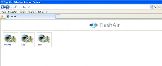 Der Remote-Zugriff auf die Daten auf der Flashair-Karte erfolgt über den Browser. (Screenshot: Petra Vogt)