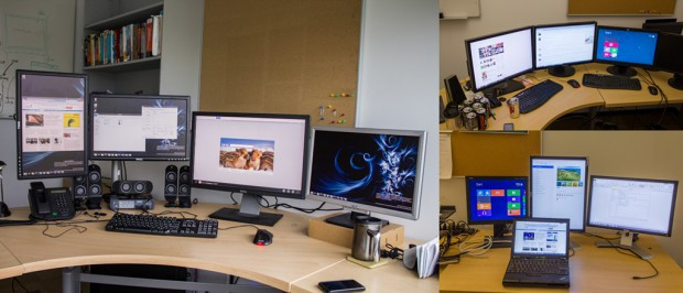 Einige Multimonitor-Arbeitsplätze in Microsoft-Büros (Bild: Microsoft)