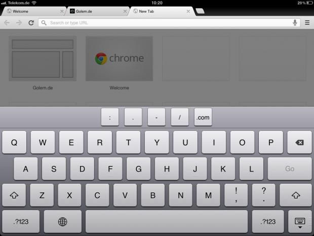 Chrome auf dem iPad.