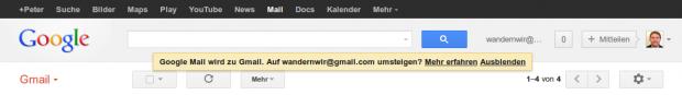 Hinweis zur Gmail-Umbenennung