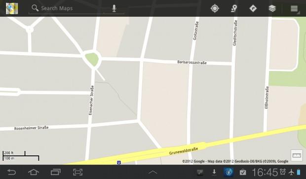 Google Maps im Offlinebetrieb: Es fehlen einige Details, vor allem bei kleinen Straßen.