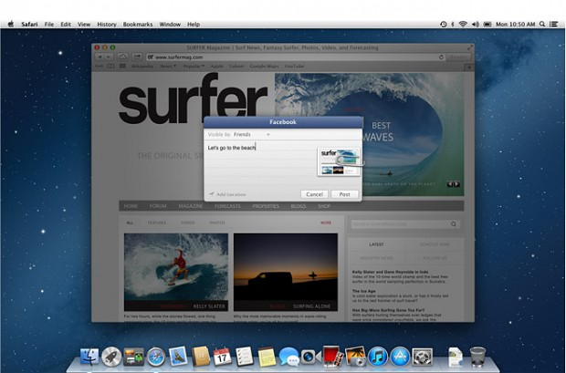 OS X 10.8 Mountain Lion mit Facebook-Integration